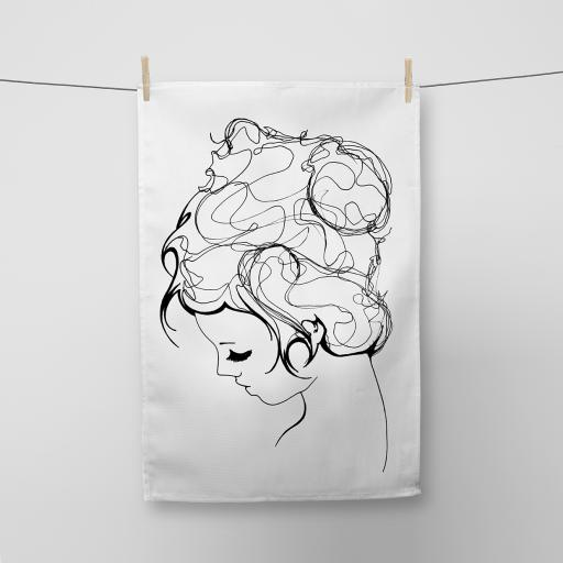 Line Girl Cotton Tea Towel