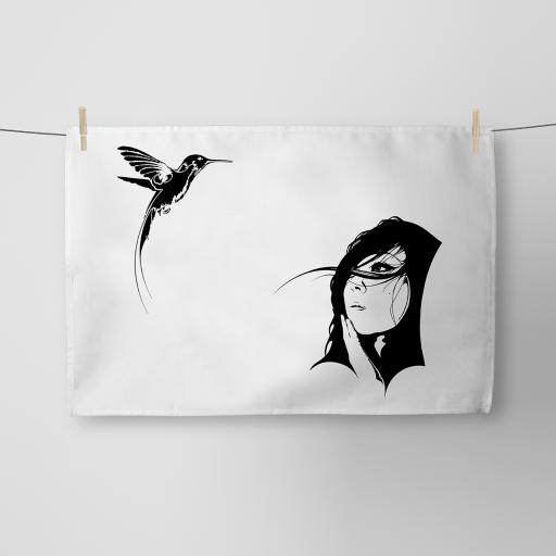 Girl and The Hummingbird Cotton Tea Towel