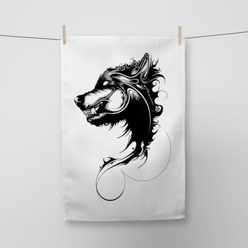 Wolf Cotton Tea Towel