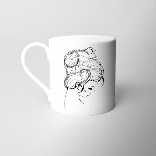 Line Girl Fine Bone China Mug