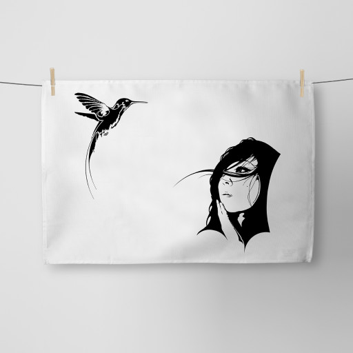 Girl and the Hummingbird Tea Towel Si Scott WB.jpg