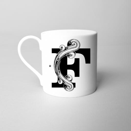 Letter F Fine Bone China Initial Mug