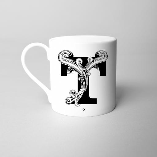 Letter T Fine Bone China Initial Mug