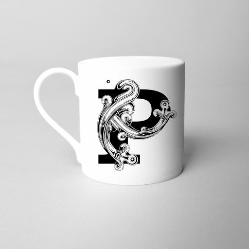 Letter P Fine Bone China Initial Mug