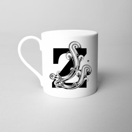 Letter Z Fine Bone China Initial Mug
