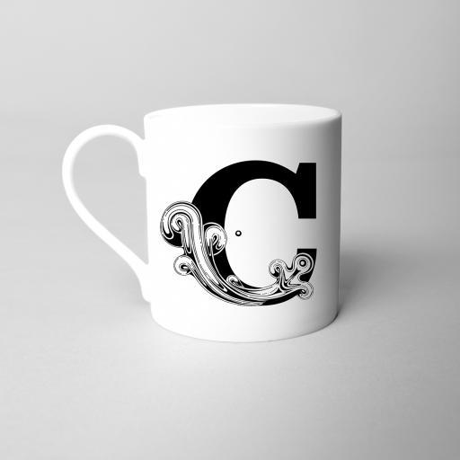 Letter C Fine Bone China Initial Mug
