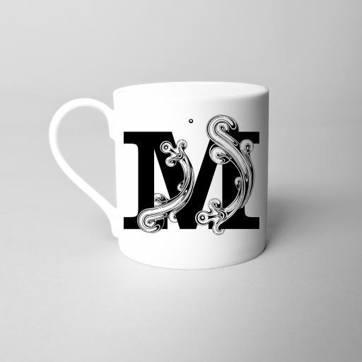 Letter M Fine Bone China Initial Mug