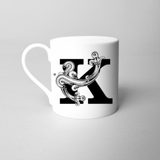 Letter K Fine Bone China Initial Mug
