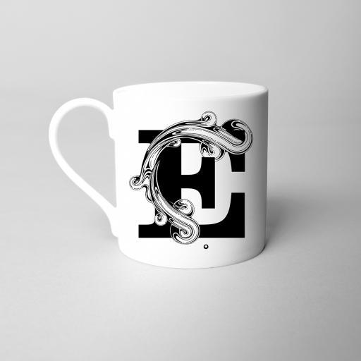 Letter E Fine Bone China Initial Mug