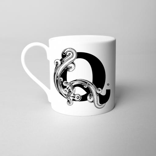Letter Q Fine Bone China Initial Mug