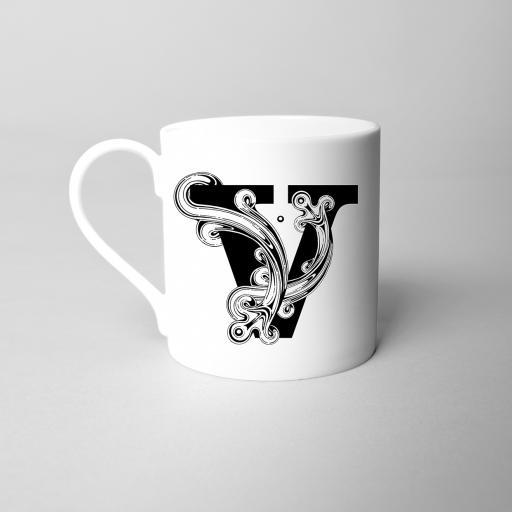 Letter V Fine Bone China Initial Mug