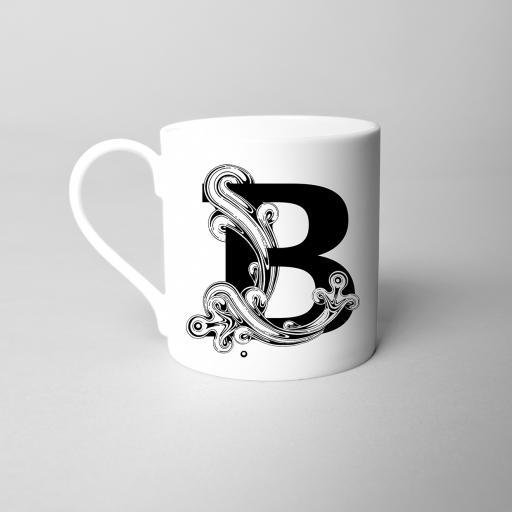 Letter B Fine Bone China Initial Mug