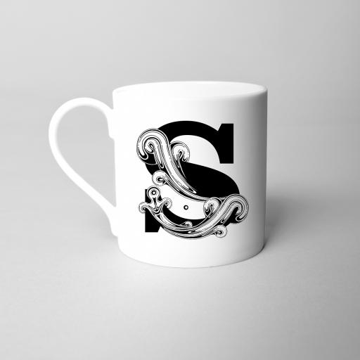 Letter S Fine Bone China Initial Mug
