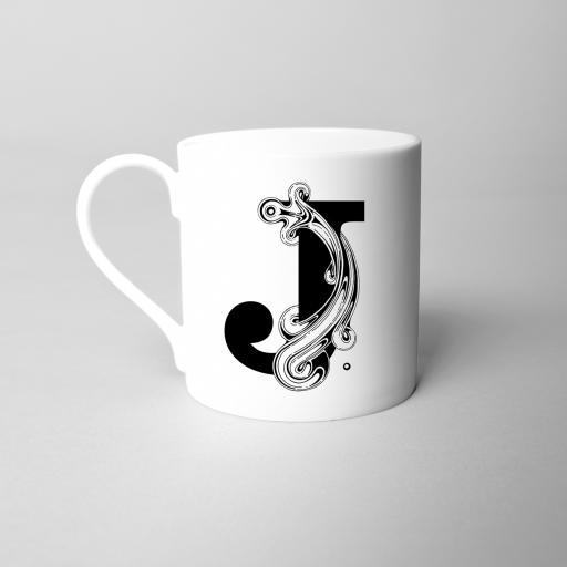 Letter J Fine Bone China Initial Mug