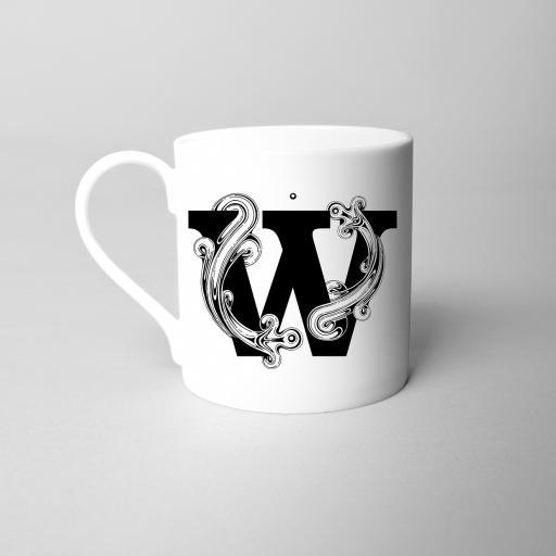 Letter W Fine Bone China Initial Mug