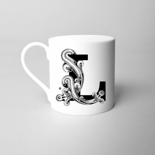 Letter L Fine Bone China Initial Mug