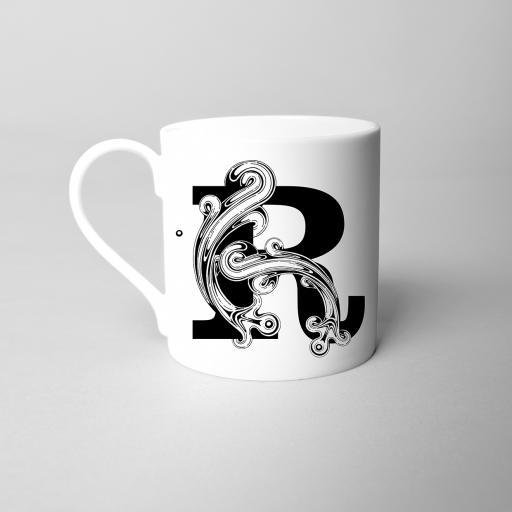 Letter R Fine Bone China Initial Mug