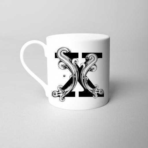 Letter X Fine Bone China Initial Mug