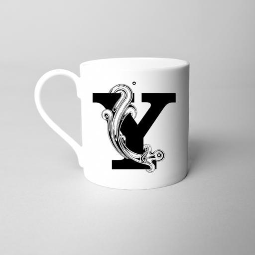 Letter Y Fine Bone China Initial Mug