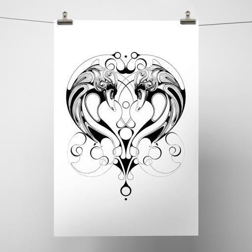Swan Heart Print