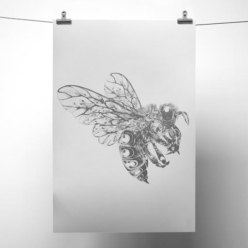 Silver Metallic Bee Print