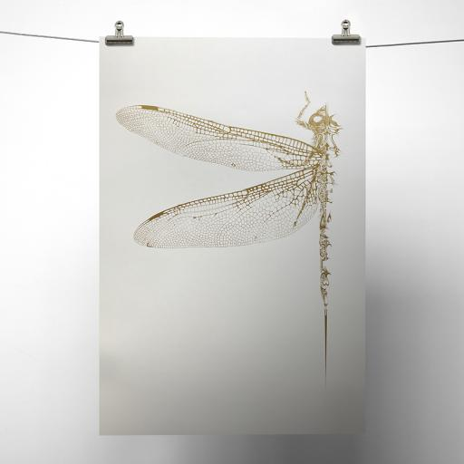 Gold Metallic Dragonfly Print