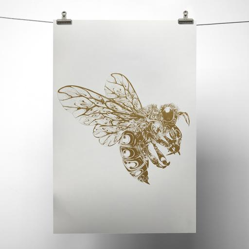 Gold Metallic Bee Print