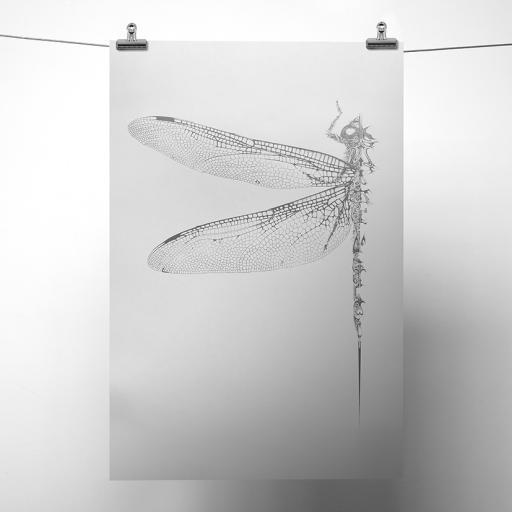 Silver Metallic Dragonfly Print