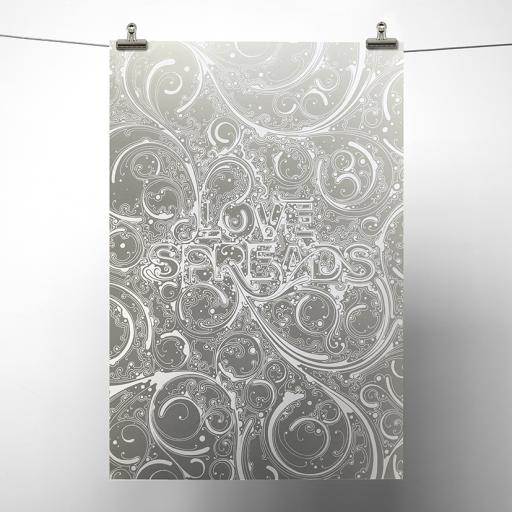 Silver Metallic Love Spreads Print