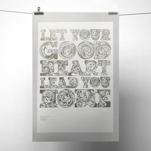 Silver Metallic Let Your Good Heart Lead You Home Print