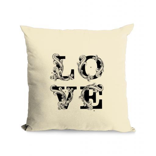 LOVE Typography Cotton Canvas Cushion