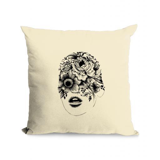 Floral Face Cotton Canvas Cushion