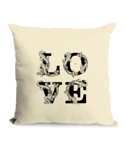 LOVE typography Cotton Canvas Cushion.png